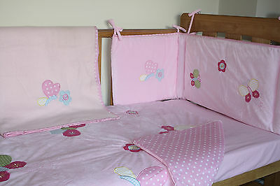 NEW PINK with dots 4 pcs.cotbed/cot Baby Bedding Set,quilt,bumper,sheet,blanket