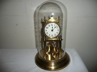 Juf Standard Early Anniversary Clock in Glass Dome, For Restoration But VGC