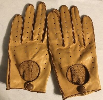 VTG Small Medium Brown Tan Handmade Leather Driving Riding Gloves