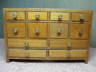 Small Vintage Wood Chest of 12 Drawers Jewelry Box Parts Cabinet