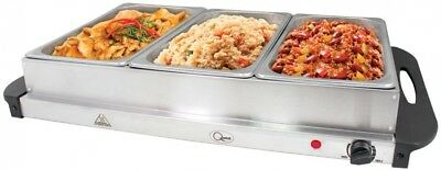 Hot Plate Buffet Hot Food Server Keep Warm Tray Entertaining Party Guests 3 Pans