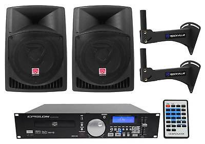 """2) Rockville 12"""" 800w Speakers+CD/MP3/USB Player w/Scratch FX Yoga/Spin/Crossfit"""