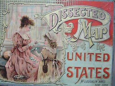 Antique 1887 McLoughlin Bros. Dissected Puzzle Map of the USA in Original Box
