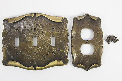 Amerock Carriage House Brass Vintage Outlet Cover & Triple Switchplate Cover