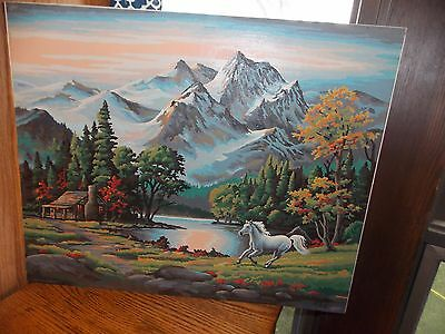White Horse Paint by Number Painting COMPLETED Signed Large and Gorgeous!