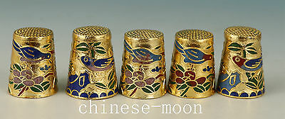 Chinese 5 Cloisonne Handmade Carved Bird Statue Thimble Ornament