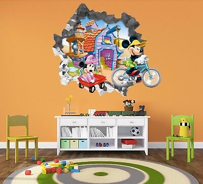 3D Mickey Mouse 3092 Wall Murals Wall Stickers Decal Breakthrough WALLPAPER AU