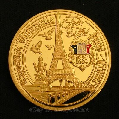 Eiffel Tower France Paris Landmark Colored 24K Gold Plated Commemorative Coin