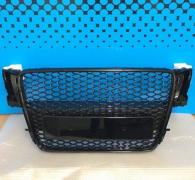 Stealth Audi A5 RS5 Style Front Grille 2007-12 Gloss Black Frame Uk Seller