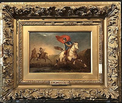 Fine 19Th Century English Oil Painting - Civil War Soldiers In Full Pursuit