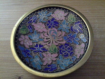 Chinese Cloisonne Enamel Copper Plate Champleve Saucer Dish Asia China c 1900's
