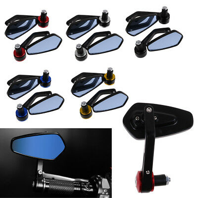 "2pcs Universal Motorcycle Aluminum 7/8"" 22mm Bar End Side Rearview Mirror"
