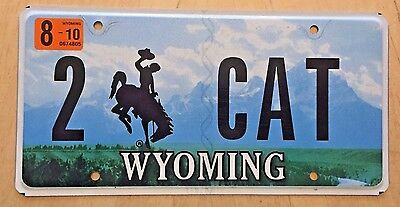 "Wyoming  Vanity License Plate "" 2  Cat "" Cats Meow Feline Pussycat Kitty Kitten"