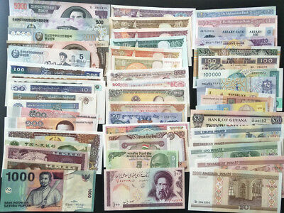 Lot 51Pcs Paper Money Banknotes From 25 Countries All Different No Repeat UNC