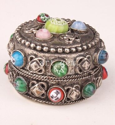 Tibet Silver Gems Jewellery Box Crafts Gift Box Collection