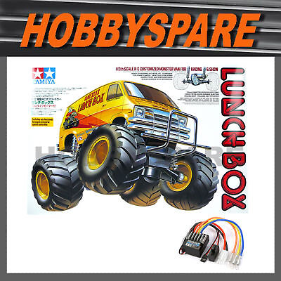 NEW TAMIYA LUNCHBOX 1/12 RC MONSTER TRUCK VAN KIT 58347 with TBLE02 ESC CW-01
