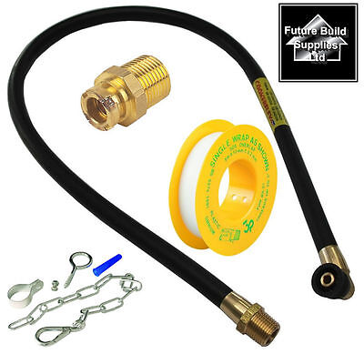 "Gas Oven Cooker Fitting Kit 3Ft 6"" Gas Hose Micro Bayonet Chain & Ptfe Tape"
