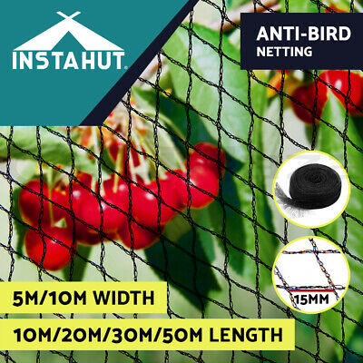 Instahut 5m 10m Anti Bird Netting Plant Net Knitted Commercial Pest 15mm Black