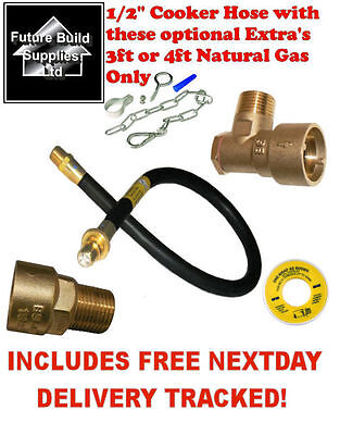 Gas Oven Cooker Hose 3Ft 4Ft Bayonet Chain Straight Bent Back Plate Elbow