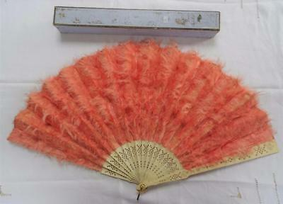Antique Victorian Carved Bone (Bovine) & Pink Marabou Feather Fan & Box - c1890
