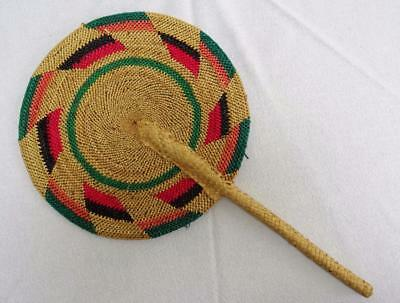 Vintage Oriental Natural & STained Woven Straw Face Screen Fan