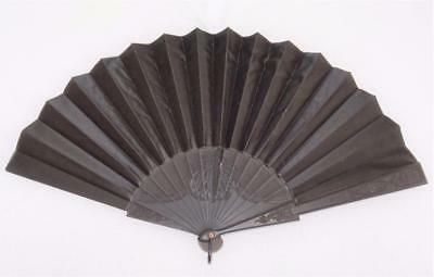 Antique Victorian Carved Pierced Ebony & Balck Satin Mourning Fan c1870
