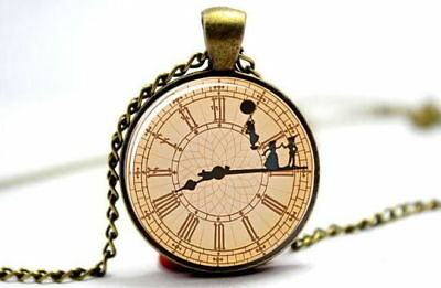 Peter Pan Big Ben Clock Themed Glass Pendant Necklace I Can Fly Vintage