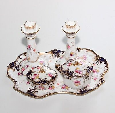 Aynsley Antique Dressing Table Set, Candlesticks, Trinket Pots And Tray.