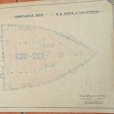 Rare 1891 Original  Lge Hand Drawn Ships Deck Plans-S.s. State Of California