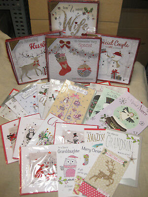 100 Mixed Christmas Cards High Quality Santa Glitter Joblot Wholesale Love Wife
