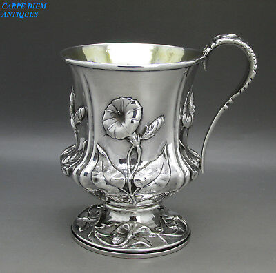 ANTIQUE SUPERB GEORGIAN ORNATELY EMBOSSED SOLID SILVER CUP, 179g NEWCASTLE 1810