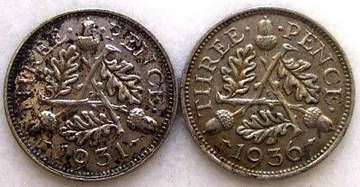 Great Britain Uk Coins, Lot Of 2, Threepence 1931 & 1936, George V, Silver 0.500