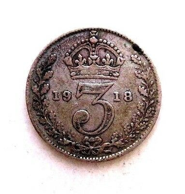 Great Britain Uk Coins, Threepence 1918, George V, Silver 0.925 ..