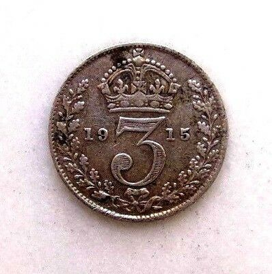 Great Britain Uk Coins, Threepence 1915, George V, Silver 0.925 ..