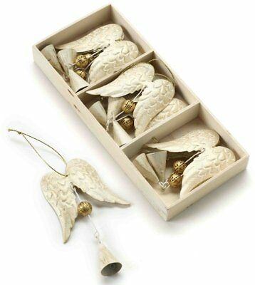 9 Chic Cream Metal Angel Wings With Gold Bell Decoration Christmas Tree Ornament