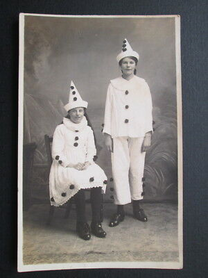 TWO GIRLS DRESSED AS PIERROTS OR CLOWNS - REAL PHOTO POSTCARDS (c1920)