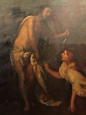 Fine Antique Old Master Oil Painting On Canvas Religious Scene - For Restoration