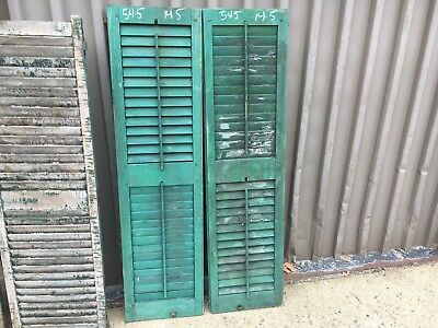 """PaiR 19th century louvered victorian window house shutter MAINE 54.5"""" x 14.5"""""""