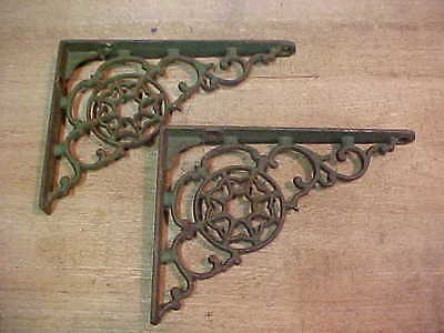 "2 Vintage Rustic Green Cast Iron 5 "" x 7"" Shelf Brackets"