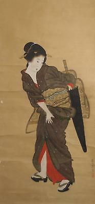 #8382 Japanese Hanging Scroll: Beauty with Umbrella