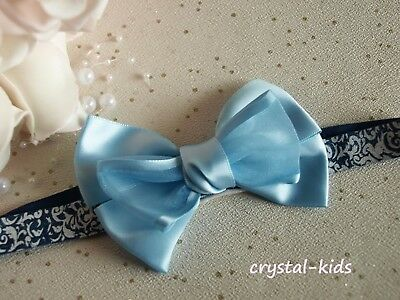Baby Girls Large Blue Satin Bow Elasticated Headband ** HANDMADE **
