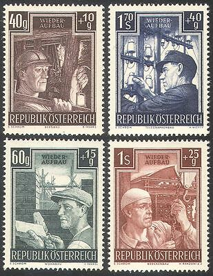 Austria 1951 Industry/Workers/Coal Miner/Builders/Bridge/Telegraph 4v set n42234