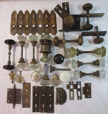 Antique Brass, Porcelain and Glass Door Knobs Plates San Francisco Mansion