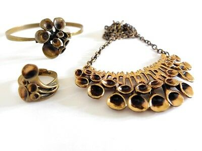 +++ HANNU IKONEN Schmuck Set FINNLAND Bronze 70´s Modernist Design Jewelry +++
