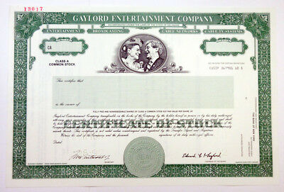 Gaylord Entertainment Co., 1992 Specimen Stock Certificate