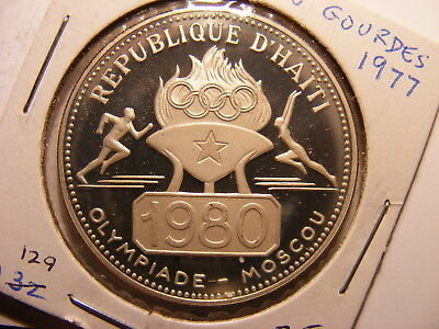 Haiti 50 Gourdes, 1977, 1980 Moscow Olympics, Silver, Proof