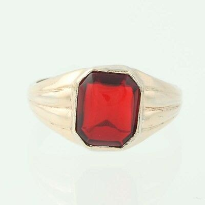 Vintage Red Glass Ring - 10k Rold Gold Plated Solitaire Octagon Size 5 1/4