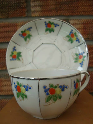 Japanese Cup & Saucer handpainted with Oranges & Lemons.