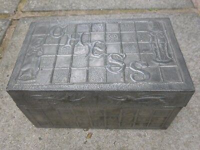 An Antique Pewter Arts & Crafts CHESS Box-Possibly Welsh-Dragons.