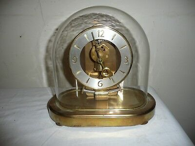 Vintage, Kundo, Electromagnetic Anniversary Clock in Oval Glass Dome.